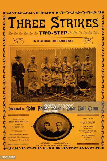 music cover showing John Philip Sousa and his baseball team