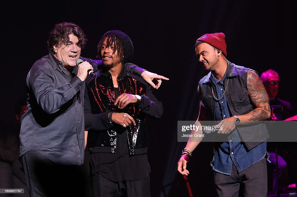 Music director Darrell Brown, singers Lupe Fiasco and Guy Sebastian perform during The 55th Annual GRAMMY Awards - Music Preservation Project 'Play It Forward' Celebration highlighting The GRAMMY Foundations ongoing work to safegaurd music's history at the Saban Theatre on February 7, 2013 in Los Angeles, California.