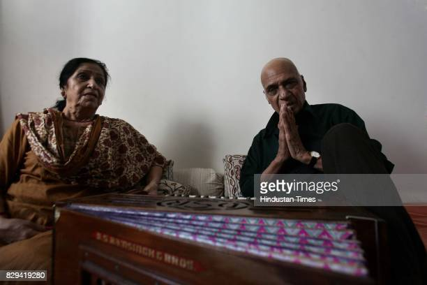 Music Director Khayyam with his wife Jagjit Kaur at his residence in Juhu on Sunday