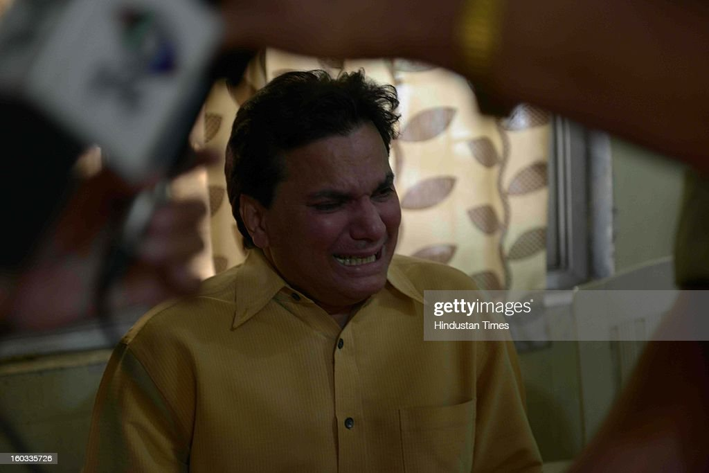 Music director Lalit crying at NRI Police station after a skeleton believed to be of his eldest sister Sandhya Singh was found behind DPS school on January 29, 2013 in Mumbai, India. Sandhya Singh was missing from last 49 days. Police official are waiting for forensic reports for confirmation.
