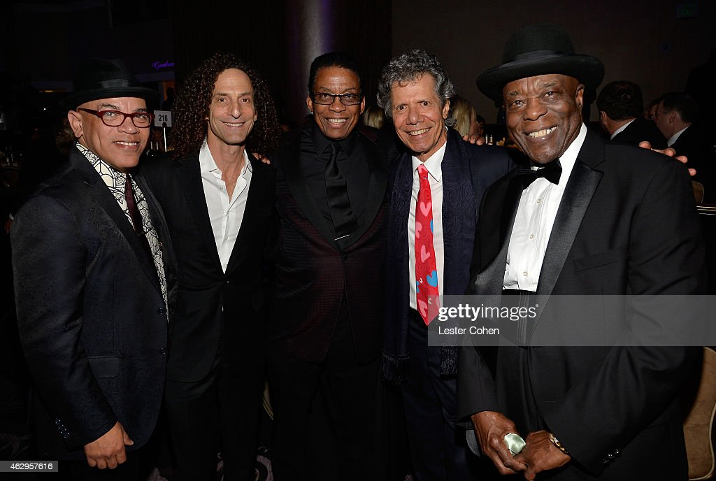 Music director Rickey Minor, musicians <a gi-track='captionPersonalityLinkClicked' href=/galleries/search?phrase=Kenny+G+-+Saxophonist&family=editorial&specificpeople=211357 ng-click='$event.stopPropagation()'>Kenny G</a>, <a gi-track='captionPersonalityLinkClicked' href=/galleries/search?phrase=Herbie+Hancock&family=editorial&specificpeople=214131 ng-click='$event.stopPropagation()'>Herbie Hancock</a>, <a gi-track='captionPersonalityLinkClicked' href=/galleries/search?phrase=Chick+Corea&family=editorial&specificpeople=1657212 ng-click='$event.stopPropagation()'>Chick Corea</a> and <a gi-track='captionPersonalityLinkClicked' href=/galleries/search?phrase=Buddy+Guy&family=editorial&specificpeople=215438 ng-click='$event.stopPropagation()'>Buddy Guy</a> attend the Pre-GRAMMY Gala and Salute to Industry Icons honoring Martin Bandier at The Beverly Hilton Hotel on February 7, 2015 in Los Angeles, California.