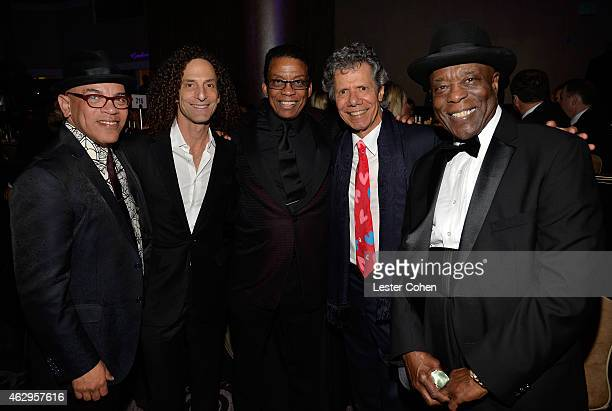 Music director Rickey Minor musicians Kenny G Herbie Hancock Chick Corea and Buddy Guy attend the PreGRAMMY Gala and Salute to Industry Icons...
