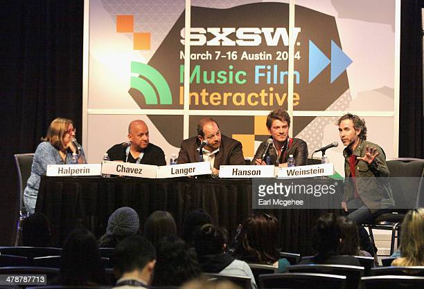 Music editor Shirley Halperin Charles Chavez of Latium Entertainment Esquire's Andy Langer and musician Taylor Hanson speak onstage at 'When to Tune...