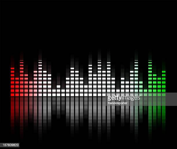 music equalizer blurred in black background, italy flag
