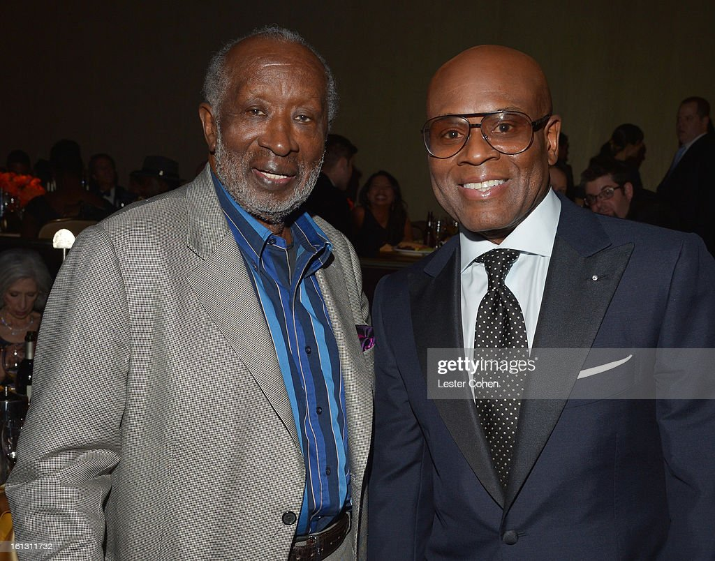 Music executive Clarence Avant (L) and Epic Records Chairman/CEO of Antonio 'L.A.' Reid attend the 55th Annual GRAMMY Awards Pre-GRAMMY Gala and Salute to Industry Icons honoring L.A. Reid held at The Beverly Hilton on February 9, 2013 in Los Angeles, California.