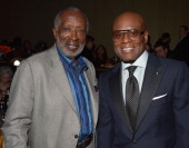 Music executive Clarence Avant and Epic Records Chairman/CEO of Antonio 'LA' Reid attend the 55th Annual GRAMMY Awards PreGRAMMY Gala and Salute to...