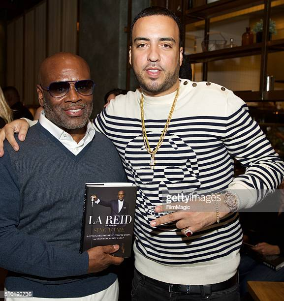 Music Executive LA Reid and Hip Hop Artist French Montana pose for a photo at the LA Reid 'Sing To Me' PreGrammy Brunch at Hinoki The Bird on...