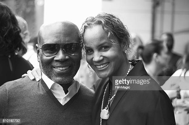 Music Executive LA Reid and wife Erica Reid pose for a photo at the LA Reid 'Sing To Me' PreGrammy Brunch at Hinoki The Bird on February 13 2016 in...