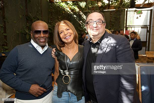 Music Executive LA Reid CEO/Epic Records Sylvia Rhone and Film Critic Roger Friedman attend the LA Reid 'Sing To Me' PreGrammy Brunch at Hinoki The...