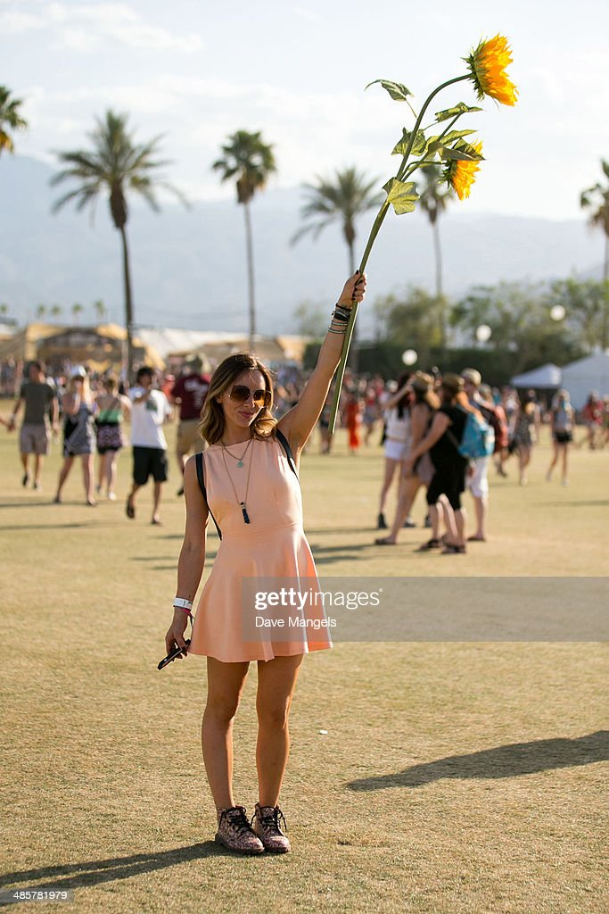 Music fan Alexa from Oklahoma attends day 3 of the 2014 Coachella Valley Music & Arts Festival at the Empire Polo Club on April 20, 2014 in Indio, California.