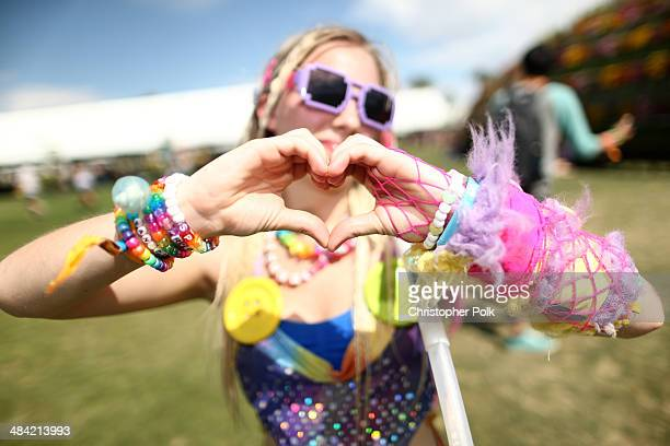 Music fan attends day 1 of the 2014 Coachella Valley Music Arts Festival at the Empire Polo Club on April 11 2014 in Indio California