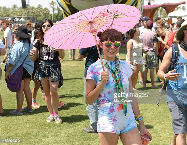 Music fan attends day 1 of the 2015 Coachella Valley Music Arts Festival at the Empire Polo Club on April 10 2015 in Indio California
