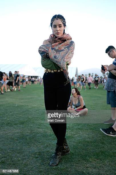 Music fan attends day 1 of the 2016 Coachella Valley Music Arts Festival Weekend 1 at the Empire Polo Club on April 15 2016 in Indio California