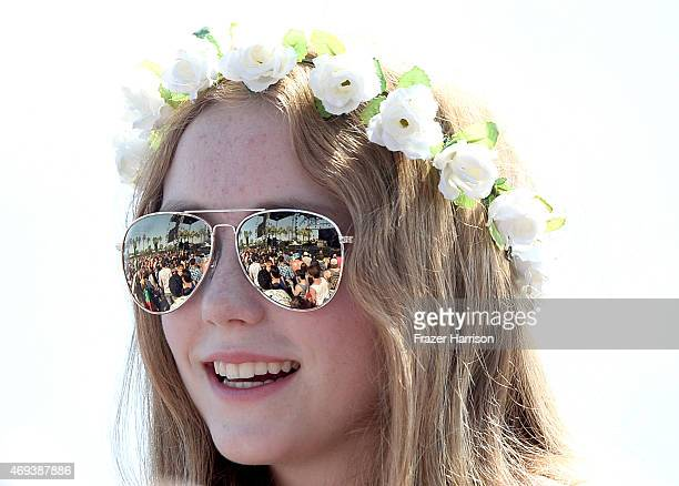 A music fan attends day 2 of the 2015 Coachella Valley Music Arts Festival at the Empire Polo Club on April 11 2015 in Indio California