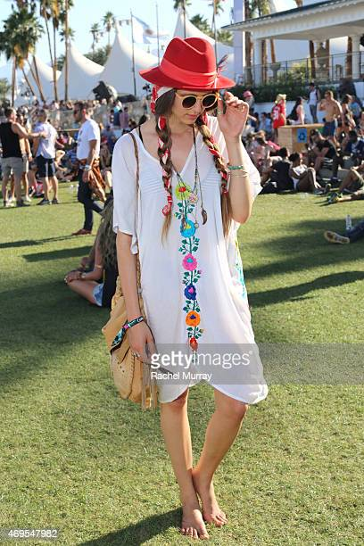 Music fan Brianna Falcon in a Natalie Martin dress attends the 2015 Coachella Valley Music and Arts Festival Weekend 1 at The Empire Polo Club on...