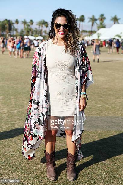 Music fan Deborah Sebet of Los Angeles California attends day 3 of the 2014 Coachella Valley Music Arts Festival at the Empire Polo Club on April 20...