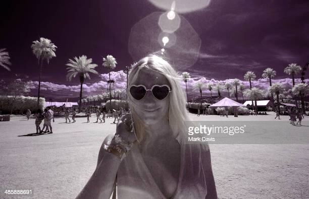 A music fan during day 2 of the 2014 Coachella Valley Music Arts Festival at the Empire Polo Club on April 19 2014 in Indio California