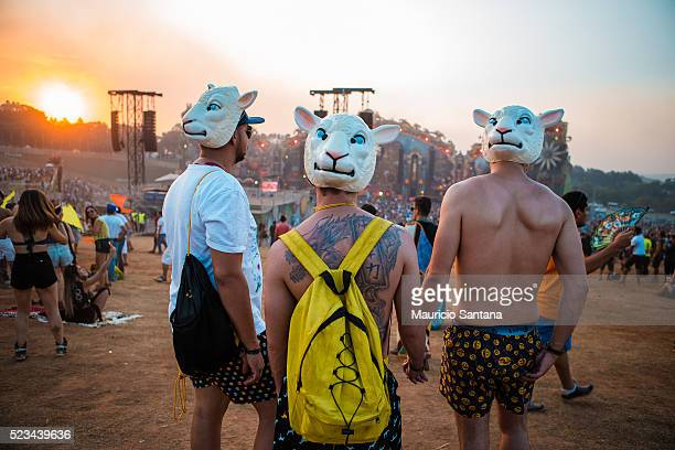 Music fan during the second day of the Tomorrowland music festival at Parque Maeda Itu on April 22 2016 in Sao Paulo Brazil