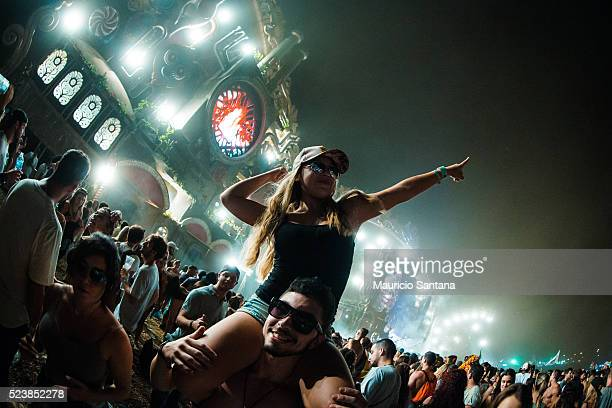 Music fan during the third day of the Tomorrowland music festival at Parque Maeda Itu on April 23 2016 in Sao Paulo Brazil