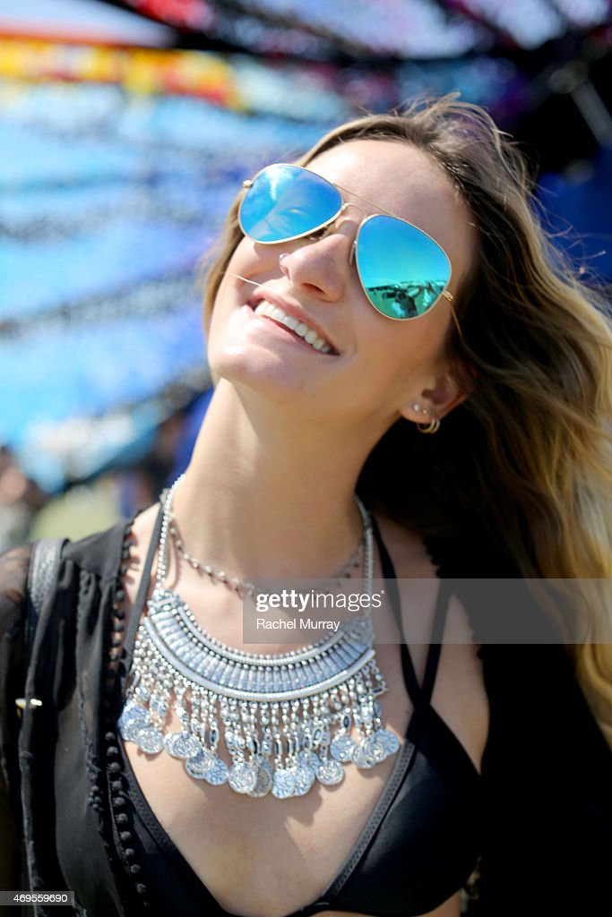 Music fan Makina Owens wearing Urban Outfitters accesories attends the 2015 Coachella Valley Music and Arts Festival Weekend 1 at The Empire Polo...