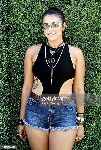 Music fan Marina Ramero wearing an Urban Outfitters bodysuit attends the 2015 Coachella Valley Music and Arts Festival Weekend 1 at The Empire Polo...