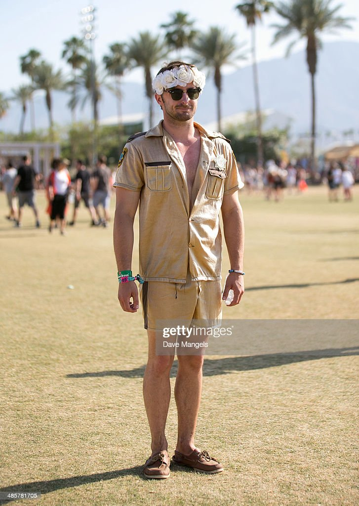 Music fan Ryan from California attends day 3 of the 2014 Coachella Valley Music & Arts Festival at the Empire Polo Club on April 20, 2014 in Indio, California.