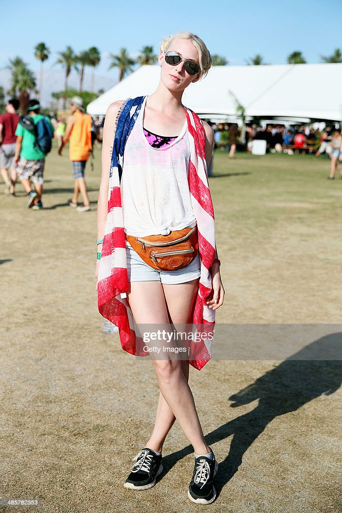 Music fan Sarah Hatcher of Arizona attends day 3 of the 2014 Coachella Valley Music & Arts Festival at the Empire Polo Club on April 20, 2014 in Indio, California.