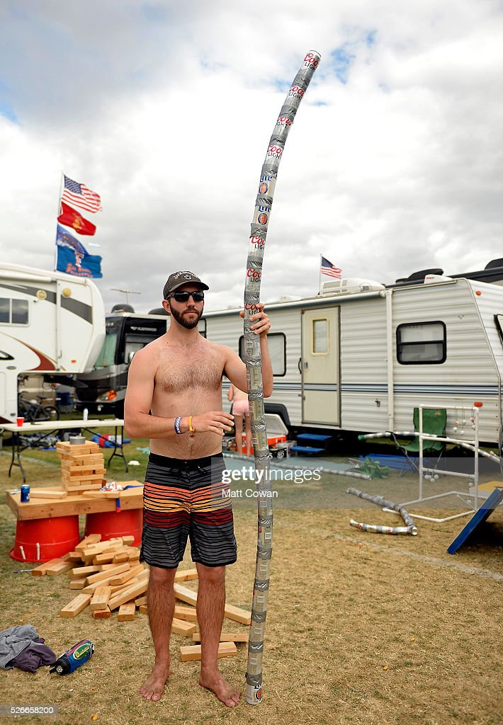 A music fan stacks the beers he has finished drinking during 2016 Stagecoach California's Country Music Festival at Empire Polo Club on April 30, 2016 in Indio, California.