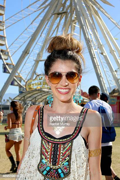 Music fan wearring gold foil tattoos attends the 2015 Coachella Valley Music and Arts Festival Weekend 1 at The Empire Polo Club on April 12 2015 in...