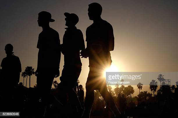 Music fans are seen during sunset at day 2 of the 2016 Coachella Valley Music Arts Festival Weekend 2 at the Empire Polo Club on April 23 2016 in...