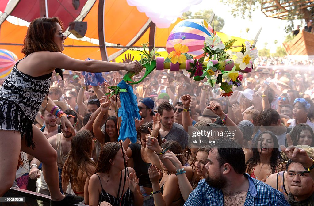 Music fans at the Do Lab during day 1 of the 2015 Coachella Valley Music & Arts Festival (Weekend 1) at the Empire Polo Club on April 10, 2015 in Indio, California.