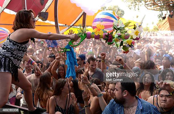 Music fans at the Do Lab during day 1 of the 2015 Coachella Valley Music Arts Festival at the Empire Polo Club on April 10 2015 in Indio California