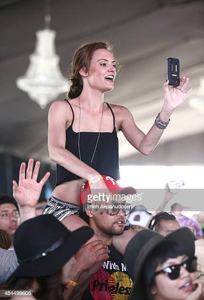 Music fans attend Banks performance during day 2 of the 2014 Coachella Valley Music Arts Festival at the Empire Polo Club on April 12 2014 in Indio...