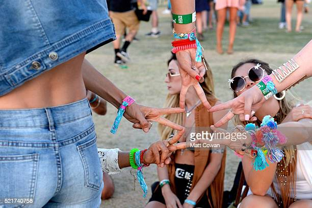 Music fans attend day 2 of the 2016 Coachella Valley Music Arts Festival at the Empire Polo Club on April 16 2016 in Indio California