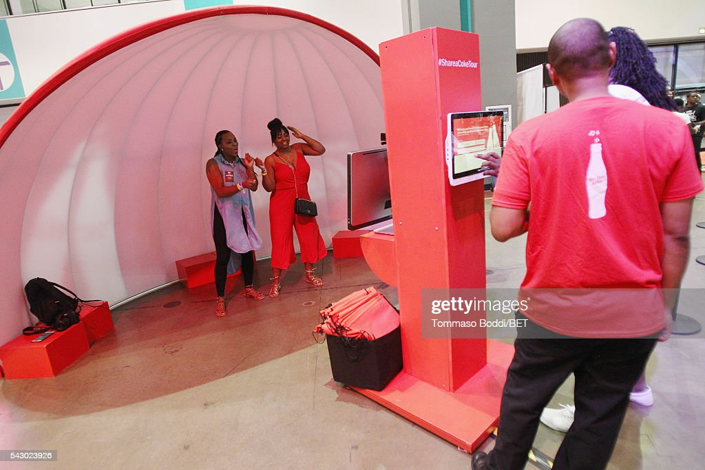 Music fans attend the Coke music studio during the 2016 BET Experience on June 25, 2016 in Los Angeles, California.