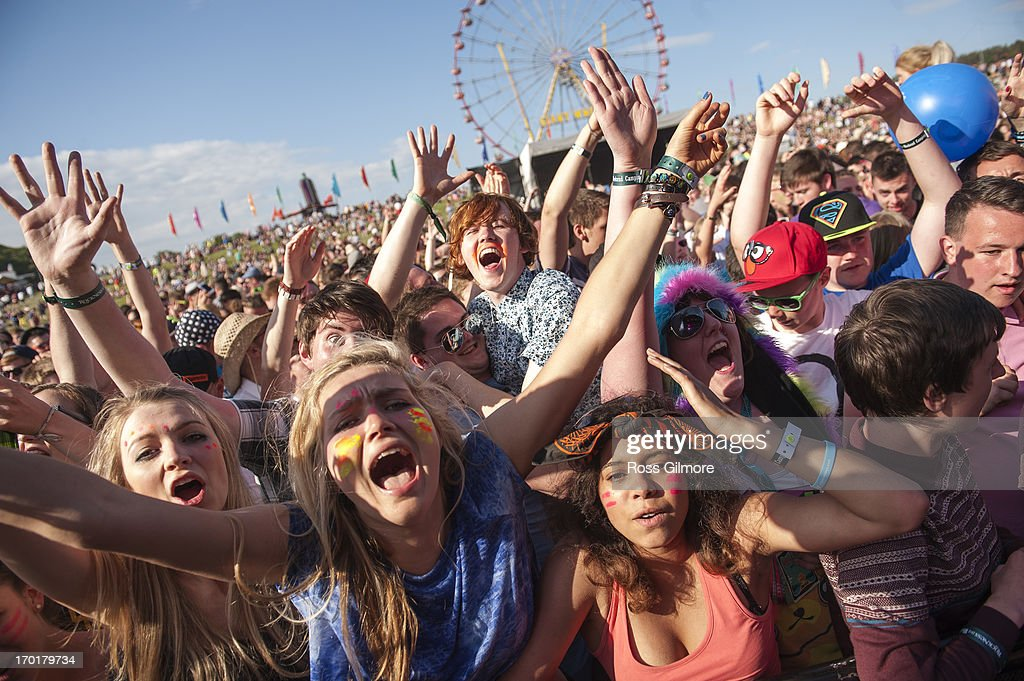 Music fans attend the main stage on day 2 of the Rockness festival at Clune Farm, Loch Ness on June 8, 2013 in Inverness, Scotland.