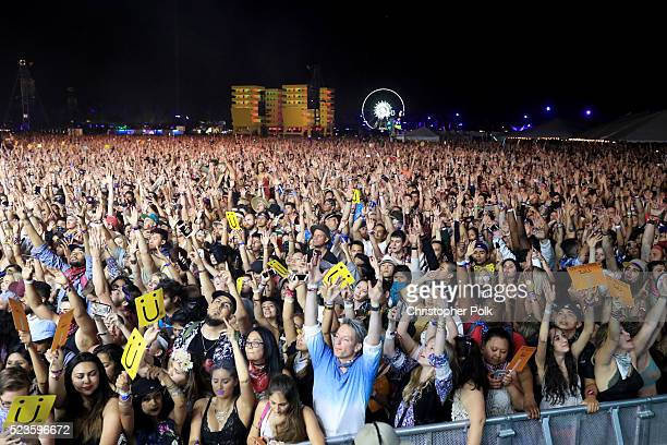 Music fans attend the performance of Jack U during day 1 of the 2016 Coachella Valley Music Arts Festival Weekend 2 at the Empire Polo Club on April...