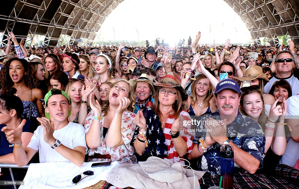 Music fans attend the performance of Sam Palladio during 2016 Stagecoach California's Country Music Festival at Empire Polo Club on April 30, 2016 in Indio, California.