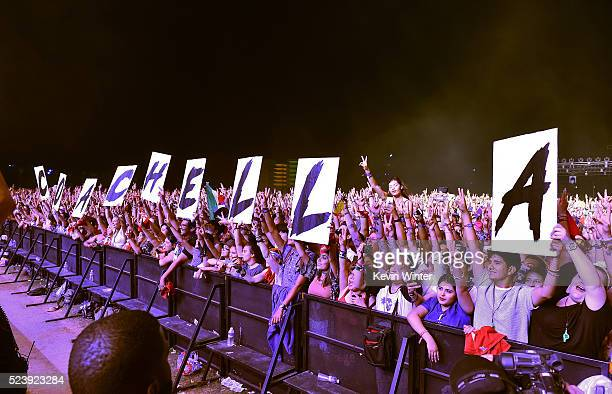 Music fans attend the performance of singer Sia during day 3 of the 2016 Coachella Valley Music Arts Festival Weekend 2 at the Empire Polo Club on...