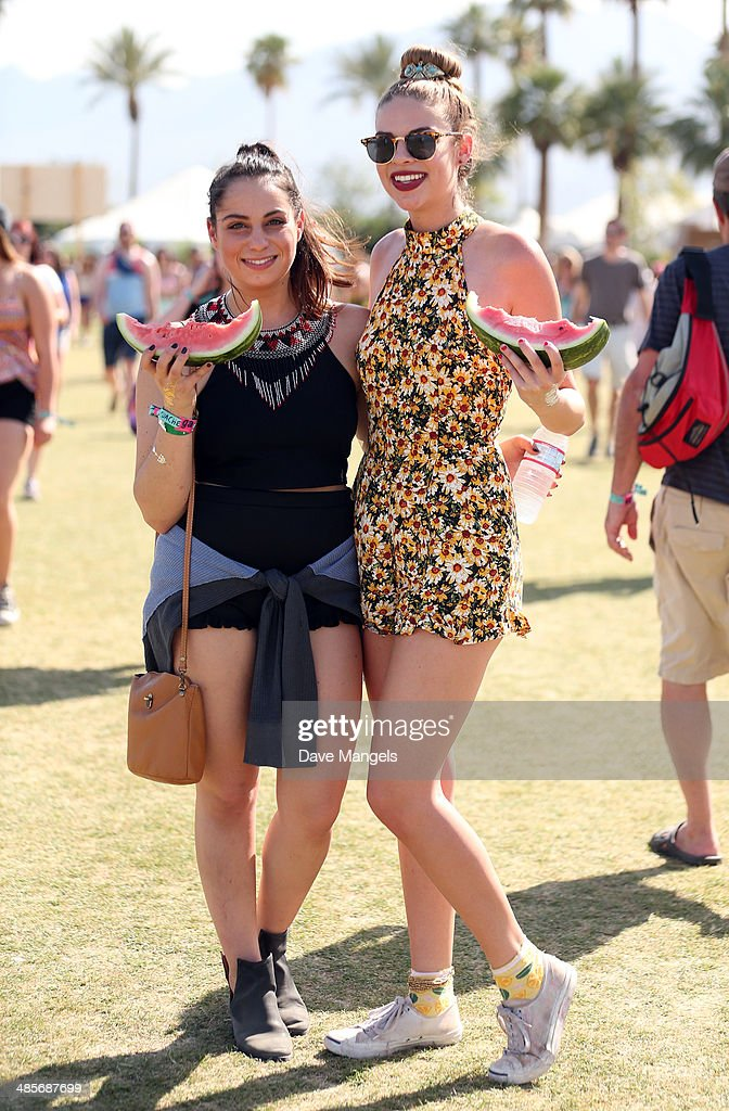 Music fans Cassidy and Brooke from Los Angeles, California attend day 2 of the 2014 Coachella Valley Music & Arts Festival at the Empire Polo Club on April 19, 2014 in Indio, California.