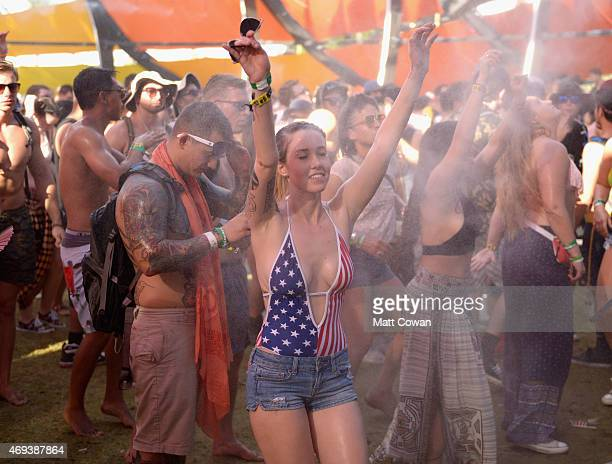Music fans dance in The Do LaB Quinoa Shade Structure during day 2 of the 2015 Coachella Valley Music Arts Festival at the Empire Polo Club on April...