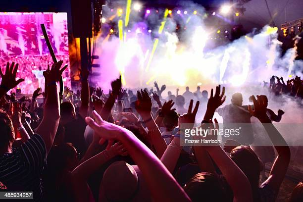 Music fans during day 3 of the 2014 Coachella Valley Music Arts Festival at the Empire Polo Club on April 20 2014 in Indio California