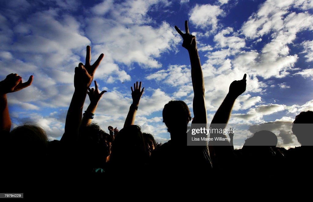 Music fans enjoy a performance during the Good Vibrations Festival in Centennial Park on February 16, 2008 in Sydney, Australia.