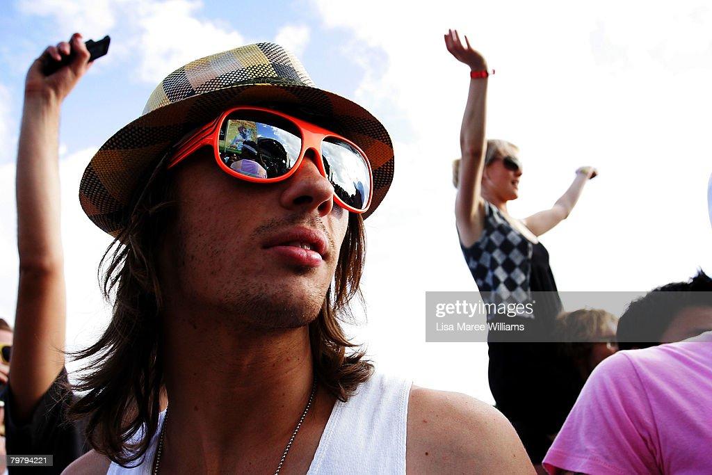 Music fans enjoy the Good Vibrations Festival in Centennial Park on February 16, 2008 in Sydney, Australia.