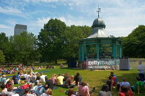 Music fans gathered around the bandstand during Weston Party at Weston Park on June 5 2011 in Sheffield United Kingdom