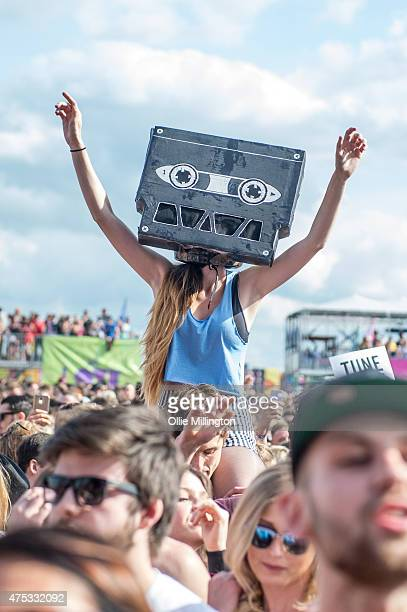 Music fans in the crowd watch on as Gorgon City perform on the main stage during day 1 of We Are FSTVL at Damyns Hall Upminster on May 30 2015 in...