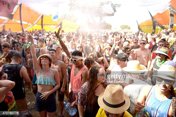 Music fans inside of the Do LaB during day 1 of the 2015 Coachella Valley Music And Arts Festival at The Empire Polo Club on April 17 2015 in Indio...