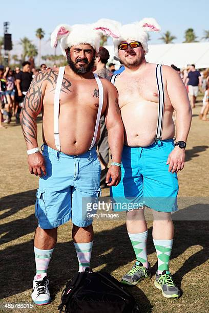 Music fans Julio Selgado of San Fransisco and Kyle Griffin of Minnesota attend day 3 of the 2014 Coachella Valley Music Arts Festival at the Empire...