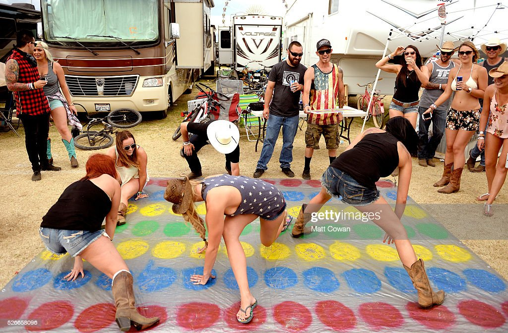 Music fans play games in the RV park during 2016 Stagecoach California's Country Music Festival at Empire Polo Club on April 30, 2016 in Indio, California.