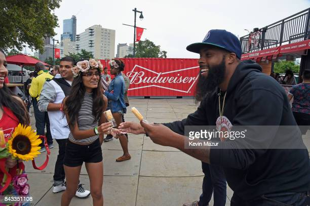 Music fans recieve popsicles in the Bud Block area during 2017 Budweiser Made in America Day 1 at Benjamin Franklin Parkway on September 2 2017 in...